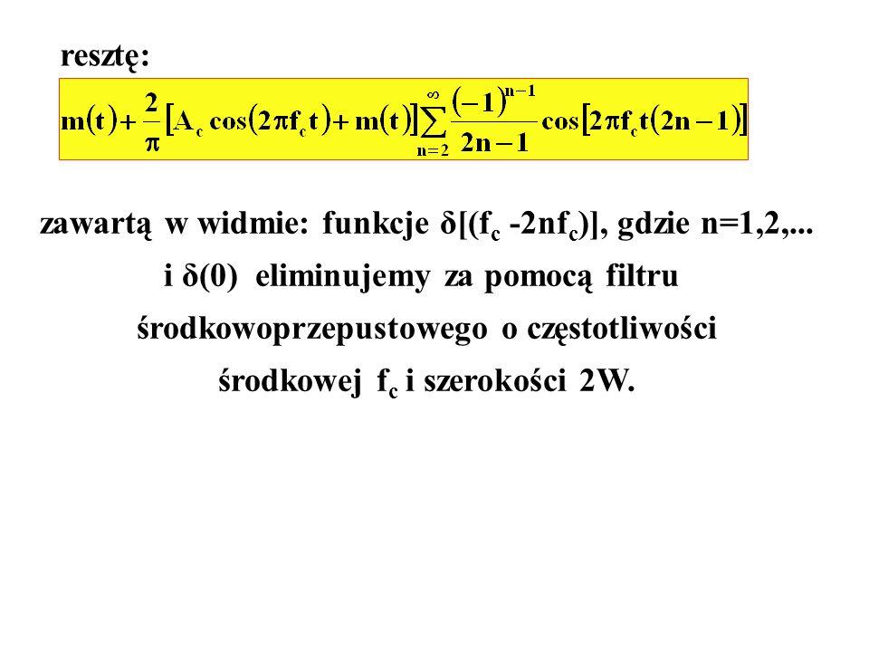 zawartą w widmie: funkcje δ[(fc -2nfc)], gdzie n=1,2,...